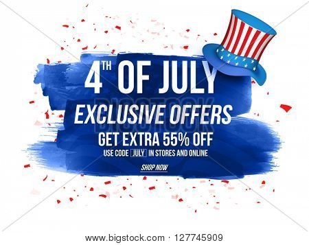 4th of July Exclusive Offers Sale, Sale Poster, Sale Banner, Sale Flyer, Extra Discount Offer, 55% Off, Online Sale. Vector illustration with glossy hat and blue abstract design.