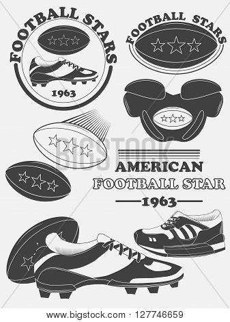 American Football Fantasy League Labels, Emblems And Design Elements. Vector