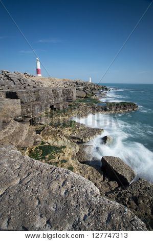 Lighthouse at Portland Bill on the Dorset coast, England, UK