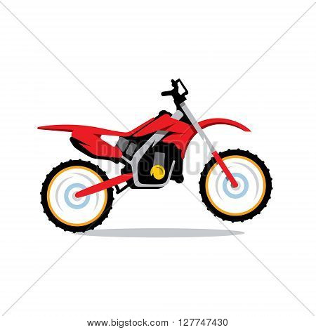 Red Motocross bike Isolated on a White Background