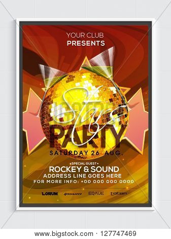 Golden Disco Ball decorated, Template, Banner or Flyer design for Stars Party celebration.