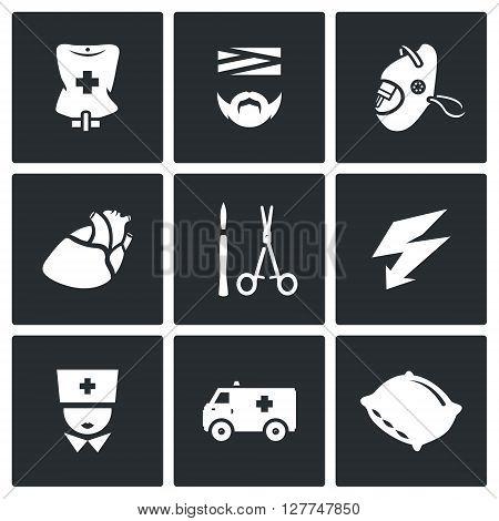 Pipette, Disabled, Oxygen, Organ, Surgery tools, Electroshock, Doctor, Transport, Hospital Bed.