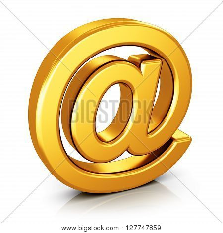 3D render illustration of shiny golden metallic email AT symbol isolated on white background with reflection effect