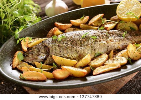 Roasted Trout With Potatoes In Thyme