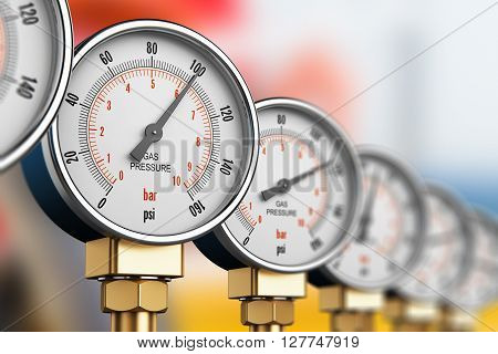 3D render illustration of the row of metal steel high pressure gauge meters or manometers with brass fittings on tubing pipeline at LNG or LPG natural gas distribution station plant or factory facility