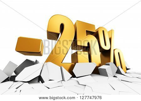 3D render illustration of golden minus 25 percent price cut off text on cracked surface isolated on white background
