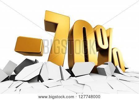 3D render illustration of golden minus 70 percent price cut off text on cracked surface isolated on white background