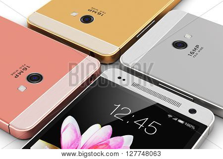 3D render illustration of the group of modern metal black glossy touchscreen smartphones with colorful application interface with color icons and buttons isolated on white background