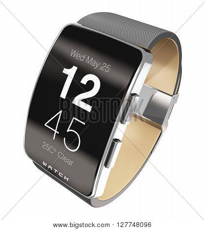 3D render illustration of digital smart watch clock or fitness tracker with screen interface showing time isolated on white background
