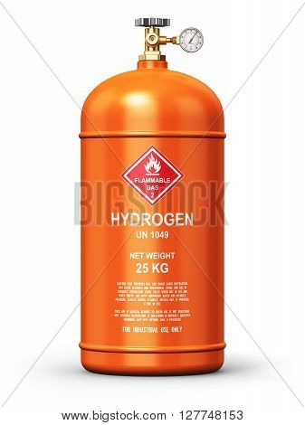 3D render illustration of orange metal steel liquefied compressed natural hydrogen gas container or cylinder with high pressure gauge meter and valve isolated on white background