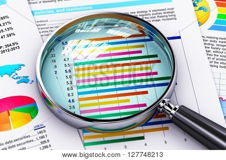 3D render illustration of magnifying glass lens or magnifier loupe on financial reports with color graphs and charts with selective focus effect