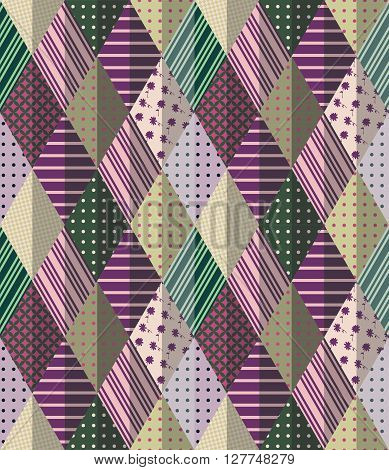 Vector abstract seamless patchwork pattern. Beautiful illustration of quilt.