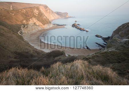 Man of War on the Dorset coast, England, UK