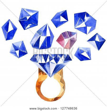 Watercolor illustration of diamond crystals and ring with sapphire