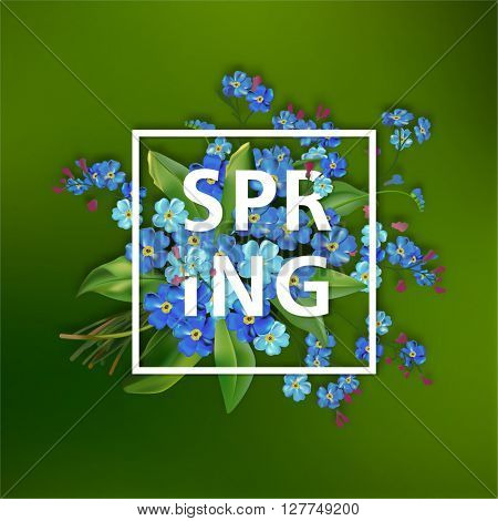 Spring lettering background with blue forget-me-not flowers on green