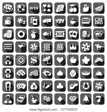 The big set of flat gray monochrome slot machine icons.