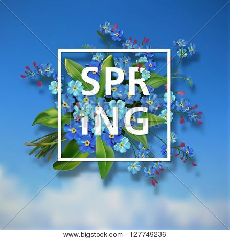 Spring lettering background with blue forget me not flowers