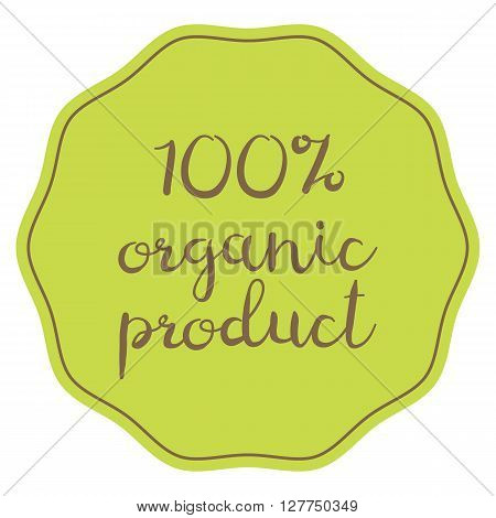 vector green 100% organic product sticker symbol