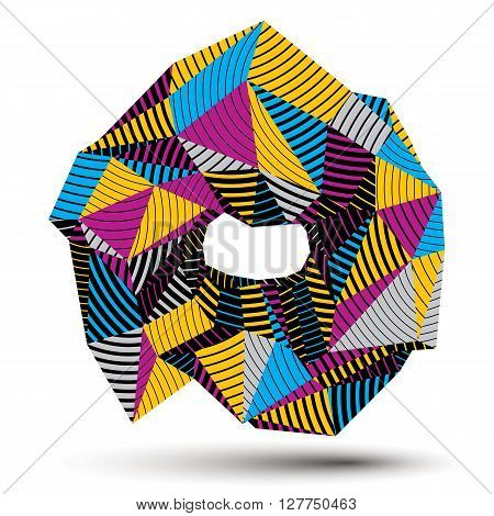 3D Contemporary Style Abstract Stripy Object, Cybernetic Vector Futuristic Form. Technology Idea.