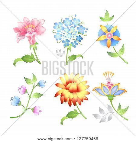 Flower branches set isolated on white background (vector illustration)
