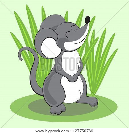 Beautiful Cartoon Mouse Standing On Grass And Smiling. Vector