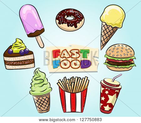 Set of Fast Food. Muffin icecream pice of pie hamburger fried potatoes soft drink drawn in cartoon style.