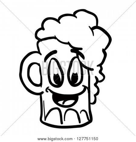 black and white beer smile cartoon illustration