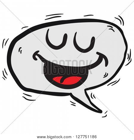 happy speech bubble cartoon illustration