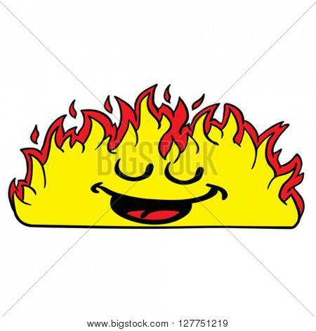 happy burning fire fire cartoon illustration