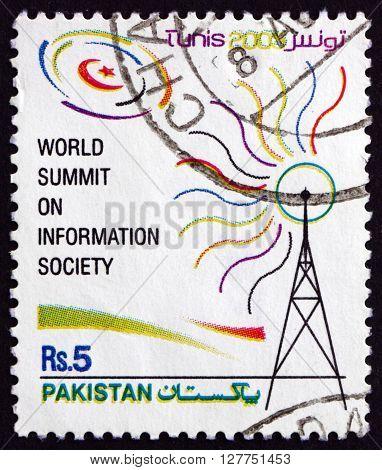 PAKISTAN - CIRCA 2005: a stamp printed in Pakistan dedicated to World Summit on Information Technology Tunisia circa 2005