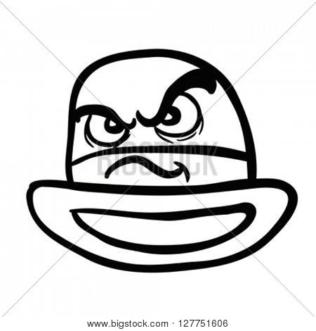 black and white angry bowler hat cartoon illustration