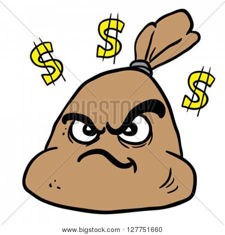 angry money bag cartoon illustration