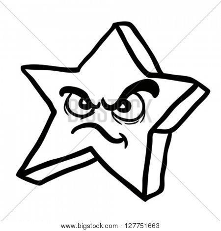 black and white angry star cartoon