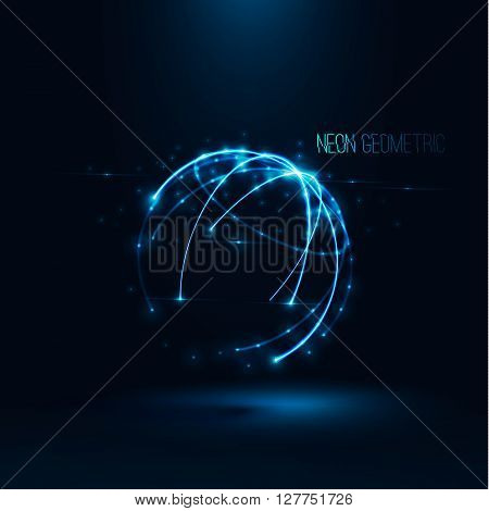 Abstract geometric technology shape of glowing particles Light neon dots and lines sphere wireframe Network connection Neon grid globe , Futuristic earth background Vector digital 3d planet illustration