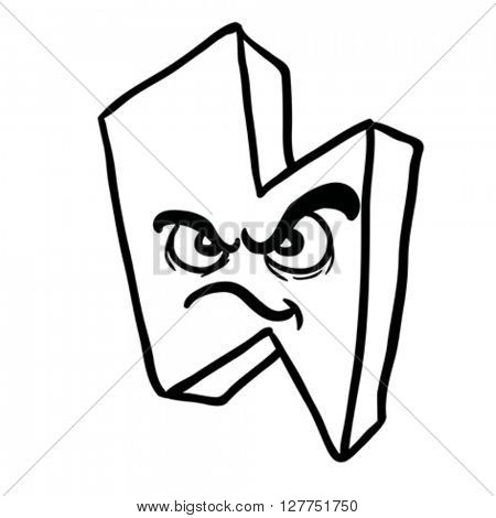black and white angry thunderbolt cartoon illustration