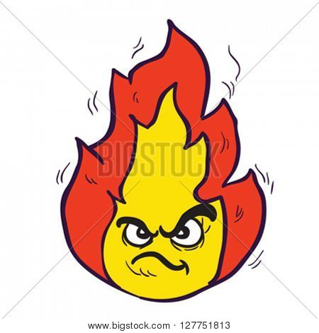angry freehand drawn cartoon illustration fire