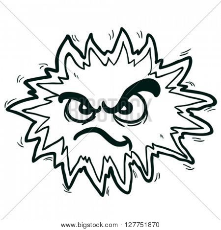 black and white angry freehand drawn cartoon illustration explosion sign