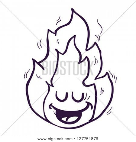 black and white happy freehand drawn cartoon fire illustration