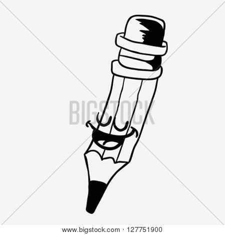 black and white happy pencil cartoon