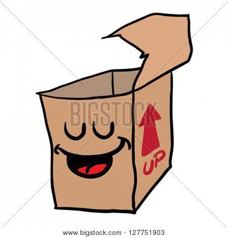 happy freehand drawn cartoon empty box illustration