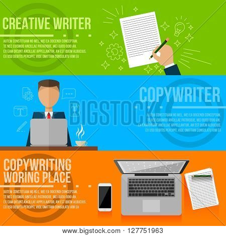 Copywriting . Vector gadgets , copywriter , creative writer flat style colorful banners set . Writing flat infographic .Line Art icons