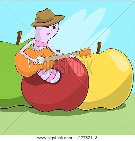 Cheerful Worm Crawled Out Of The Apple And Plays Guitar. Vector