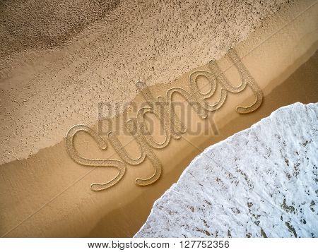 Sydney written on the beach
