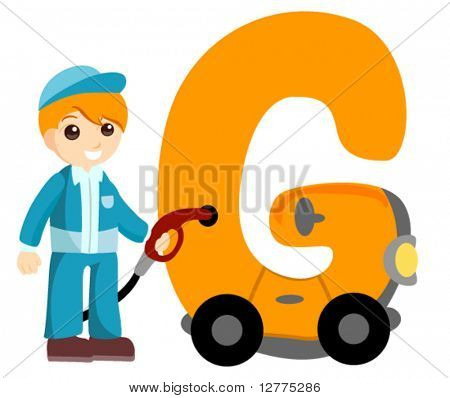 Alphabet Kids (Gasoline Attendant) - Vector
