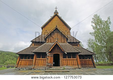 Heddal Stave Church in Telemark, Norway, summer ** Note: Soft Focus at 100%, best at smaller sizes