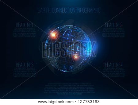 Abstract futuristic realistic earth Sci Fi globe at motion Global network connection infographic Digital world map 3d planet International communication Technology background . Vector illustration