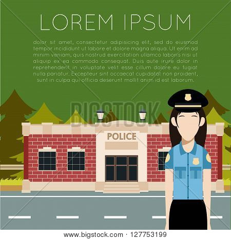 Vector image of the  Police Department Banner with police woman