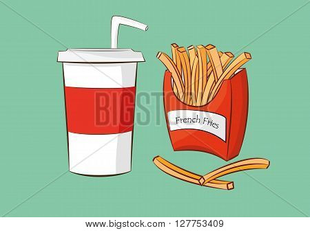 vector illustration of french fries with cola drink.fast food concept. eps 10