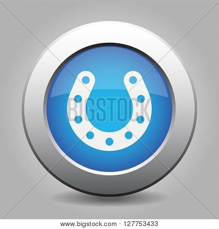 blue metal button - white horseshoe with holes