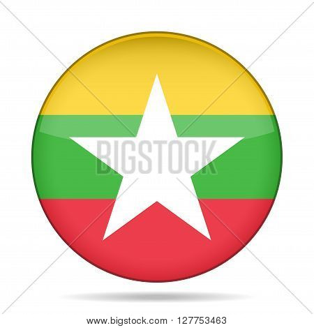 button with national flag of Myanmar Burma and shadow